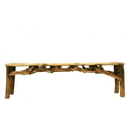 Elegante seduta in radici di bosco e metallo, robusta e versatile