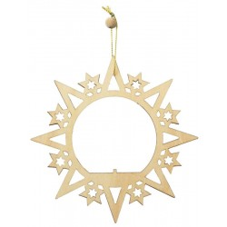 Circle with stars wooden laser decoration