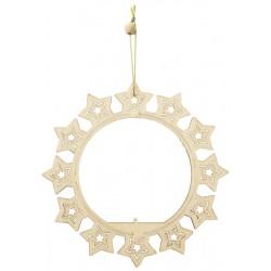 Addobbi traforati in legno per l'albero di natale - Cerchio con stelle