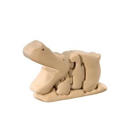 Ippopotamo Puzzle tridimensionale in legno