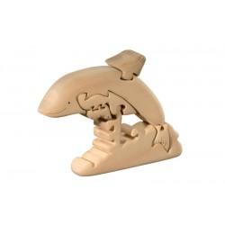 Delfino puzzle 3d in legno di tiglio - Dolfi puzzle di legno per bambini