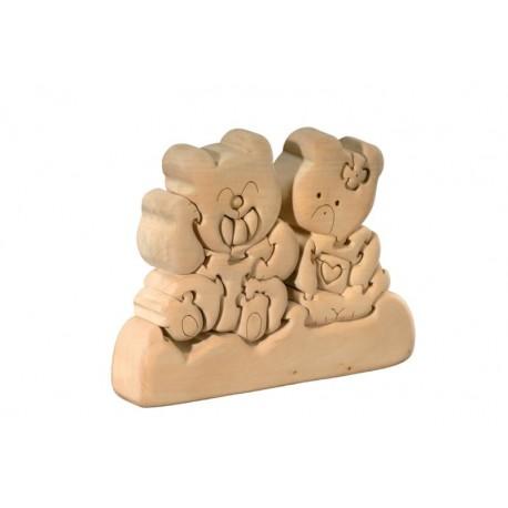 Coppia di Orsetti puzzle 3d in legno