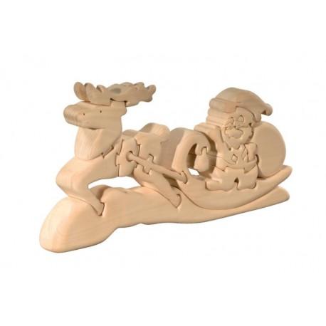 Puzzle 3d in legno Babbo Natale con slitta e renna