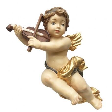 Delicato angelo Putto musicista volante con violino in legno - colorato colori pastello
