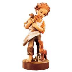 Tenera figura di bambino accompagnato dai cani - Dolfi intaglio legno, Alto Adige