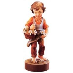 Tenera figura di bambino accompagnato da fiori - Dolfi sculture di legno, Santa Cristina Gardena