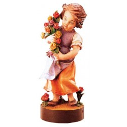 Carved wood Figure Girl with Flowers - Dolfi Chip Carving - Made in Italy