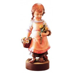 Carved wood Figure Girl with Flowers - Dolfi best wood for Carving - Made in Italy