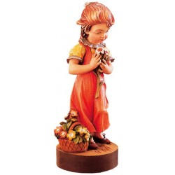 Carved wood Figure Girl with Flowers - Dolfi Cnc wood Carving - Made in Italy
