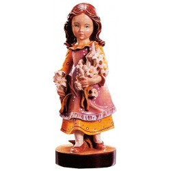 Carved wood Figure Girl with Flowers - Dolfi Whittling wood - Made in Italy