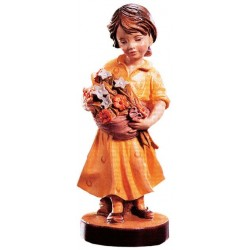 Carved wood Figure Girl with Flowers - Dolfi wood Carvers Near Me - Made in Italy