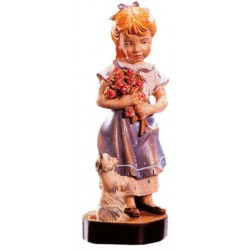 Carved wood Figure Girl with Flowers - Dolfi Chainsaw wood Carving - Made in Italy