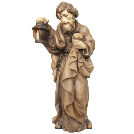 St Joseph wood nativity scene statue - stained 3 col.