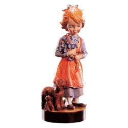 Carved wood Figure Girl with Flowers - Dolfi Beaver Craft - Made in Italy