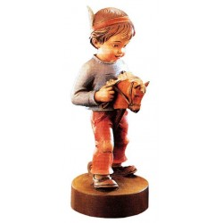 Red indian Boy - Dolfi Owl wood Carving - Made in Italy