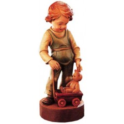 Carved wood Figure Boy with Teddy Bear - Dolfi Wooden Spoon Carving - Made in Italy