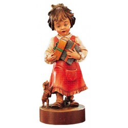 Girl sculpture with Gifts - Dolfi wood carving figurines - Made in Italy
