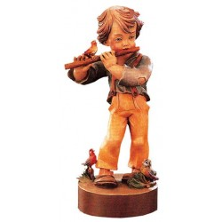 Carved wood Figure Boy with Cross Flute - Dolfi Chainsaw Bear Carving - Made in Italy
