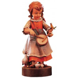Girl with small Drum - Dolfi wood Sign Carving - Made in Italy