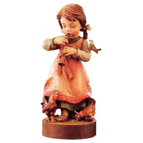 Mädchen mit Flöte in Holz