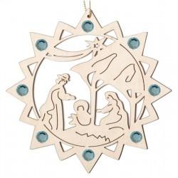 Stern mit Heiliger Familie und Swarovski Kristalle