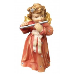 Angelo musicista scolpito in legno con flauto - colorato a olio