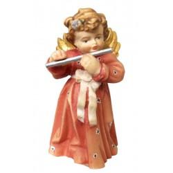 Delicato angelo musicista scolpito in legno con flauto - colorato colori pastello