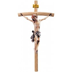 Body of Jesus Christ on Curved Light Brown Cross - Dolfi small Wooden Crosses - Made in Italy - Blue cloth