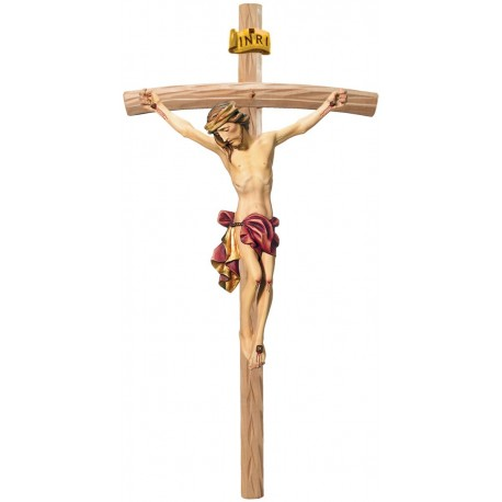 Body of Jesus Christ on Curved Light Brown Cross - Dolfi small Wooden Crosses - Made in Italy - Red cloth
