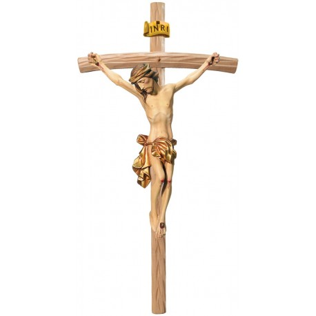 Body of Jesus Christ on Curved Light Brown Cross - Dolfi small Wooden Crosses - Made in Italy - Gilded cloth