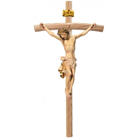 Body of Jesus Christ on Curved Light Brown Cross - Dolfi small Wooden Crosses - Made in Italy - White cloth