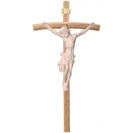Body of Jesus Christ on Curved Light Brown Cross - Dolfi small Wooden Crosses - Made in Italy - natural