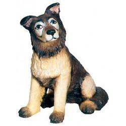Schäferhund aus Ahornholz geschnitzt, diese Holzschnitzerei ist eine wichtige Südtiroler Holzfigur - Bemalt