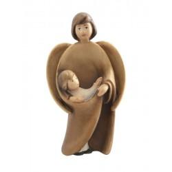 Schutzengel mit Bub - Dolfi Engel aus Holz in Modernem Stil, diese Kreation ist in Gröden produziert - Brauntöne lasiert