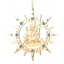 Stern mit Schneemann mit Swarovski Kristalle