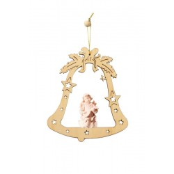 Bell with angel - laser cut wood ornament - natural