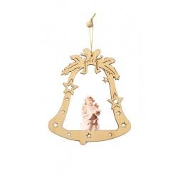Glocke mit Engel aus Holz - Natur