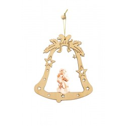 Bell with Angel - Christmas Tree Decorations - Lasered Decoration - Dolfi wood Burned Ornaments - natural