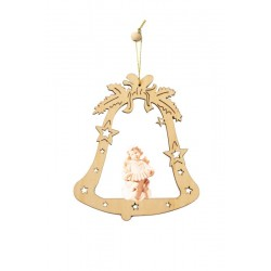 Bell with Angel- Christmas Tree Laser Cut Decorations - Dolfi wood Turned Ornaments - Made in Italy - natural