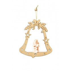 Bell with wooden angel - natural