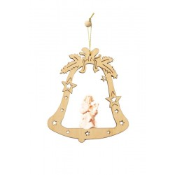 Bell with Angel - Christmas Tree Decorations - Lasered Decoration - Dolfi Woodturning Christmas Tree - natural