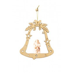 Bell with angel - laser cut wood decoration - natural