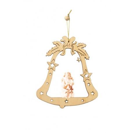 Weihnachtsbaumschmuck Glocke mit Engelchen - Natur
