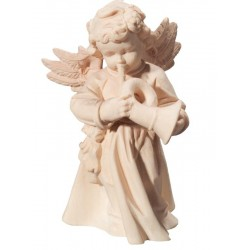Angel with Trumpet carved in wood - natural