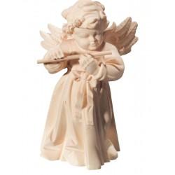 Delicato angelo musicista scolpito in legno con flauto - naturale