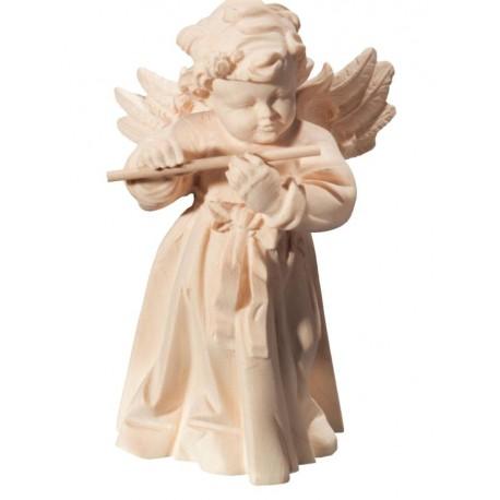 Engel geschnitzt mit Querflöte aus Holz - Natur