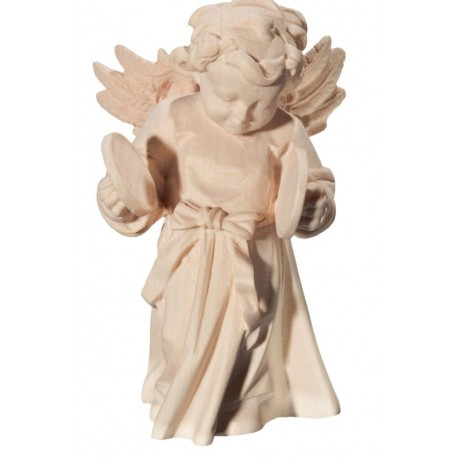 Angel with Plates in Baroque Dress hand made in wood - Dolfi Wooden Angel Statue - Made in Italy - natural