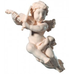 Delicate Putti flying musician angel with violin wood carved sculpture - natural