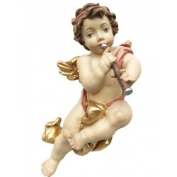 Flying Putti Angel with Clarinet Made of wood - Dolfi Hanging Angels - Made in Italy - oil colors