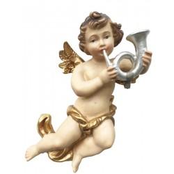 Putten Engel fliegend mit Horn - lasiert